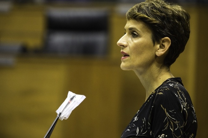 Intervención de María Chivite en el pleno de este martes.