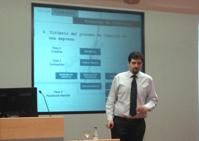 Jesús Sancho, durante la conferencia que ha impartido en ESIC Navarra