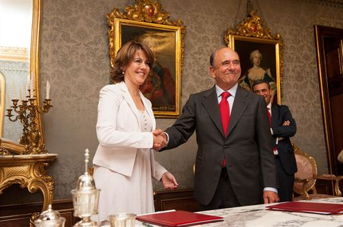 Yolanda Barcina y Emilio Botín