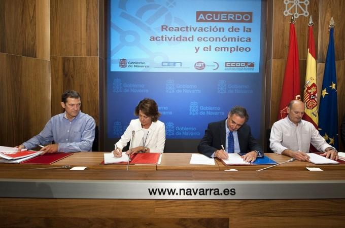 Gobierno foral, CEN, UGT y CCOO firman un acuerdo para la reactivación de la actividad económica y el empleo viernes
