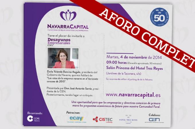 Aforo completo para los 'Desayunos Empresariales' de Navarra Capital que se estrenan mañana con Yolanda Barcina