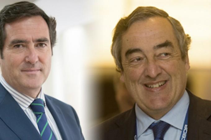 El actual presidente de la CEOE, Joan Rosell, y el presidente de CEPYME, Antonio Garamendi, se disputan la presidencia de la patronal