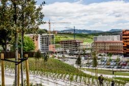 Viviendas en construcción en Lezkairu, en Pamplona.