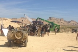 """Imagen del rodaje del filme """"Anacleto"""" en el escenario Natural de Bardenas Reales."""
