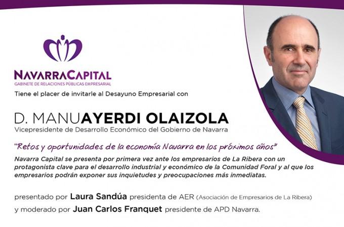 Manu Ayerdi, protagonista de los primeros 'Desayunos Empresariales' de Navarra Capital en Tudela