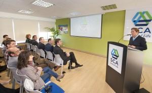 Uxue Barkos durante la inauguración de la sede de SCA en Allo