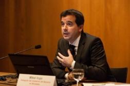 El delegado de Navarra en Bruselas, Mikel Irujo, durante unas jornadas que se hicieron en Condestable en febrero de 2016 para presentar la red Vanguard en la Comunidad foral (archivo).