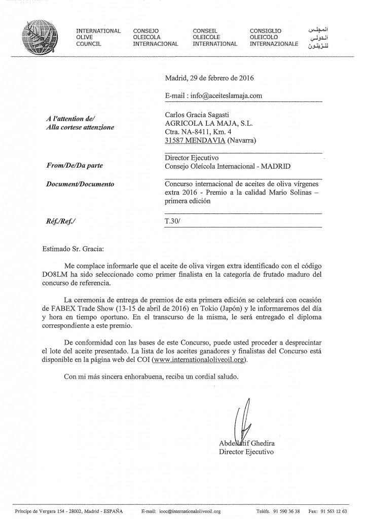 """Premio """"Mario Solinas"""" CERTIFICADO - La Maja"""