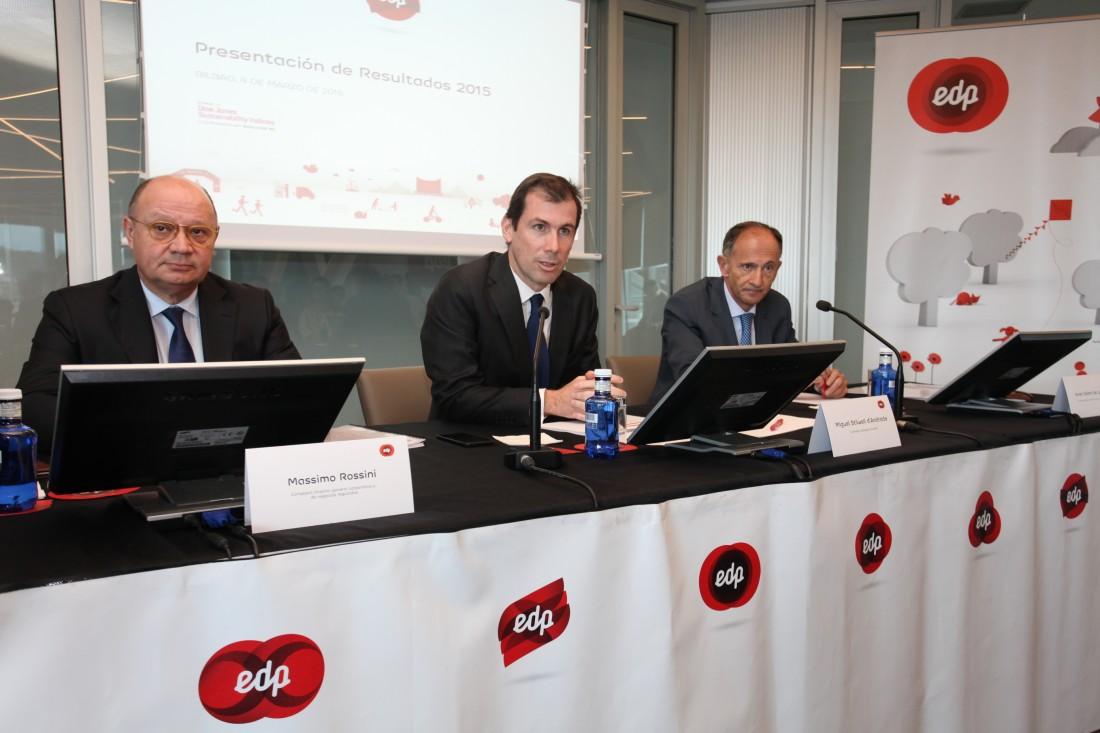 Presentación de Resultados EDP España 2015 Massimo Rossini, Miguel Stilwell de Andrade y Javier Sáenz de Jubera