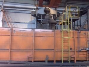 Alzado del intercambiador de calor en el momento de ser instalado