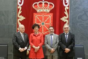 La actual presidenta de Comptos junto a sus predecesores