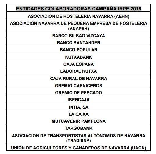 Entidades Colaboradoras IRPF 2015