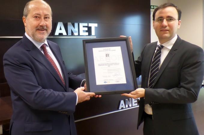 AENOR certifica el Centro de Formación de ANET