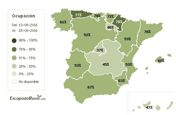 Ocupación Casas Rurales Puente de Agosto 2016