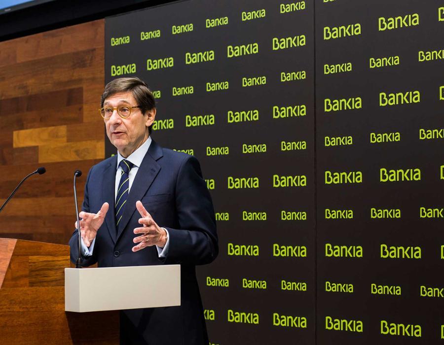 Un momento de la presentación del Plan Estratégico 2018-2020 de Bankia por su presidente, José Ignacio Goirigolzarri.