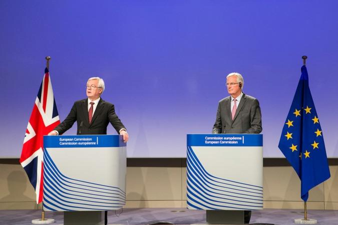 Conferencia de prensa en Bruselas de Michel Barnier y David Davis tras la cuarta ronda de negociaciones