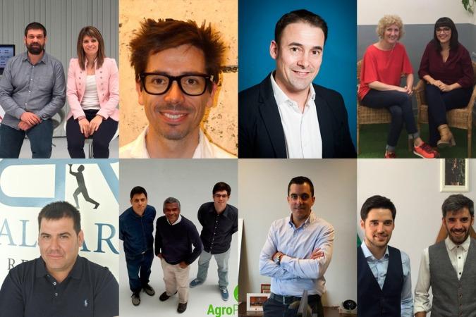 Imagen de los finalistas a los premios Joven Empresario 2017 promovidos por AJE Navarra.