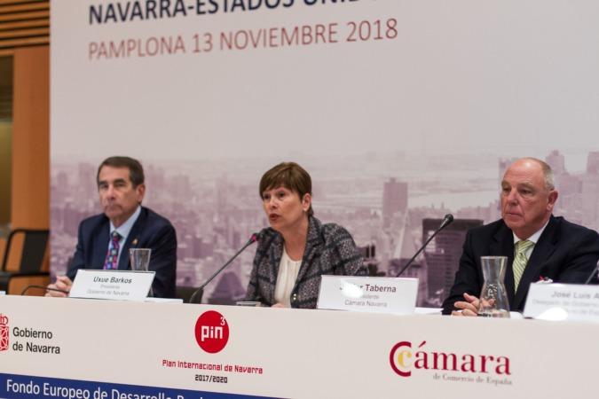 Alan D. Solomont, Uxue Barkos y Javier Taberna han abierto el Foro Empresarial Navarra-Estados Unidos.