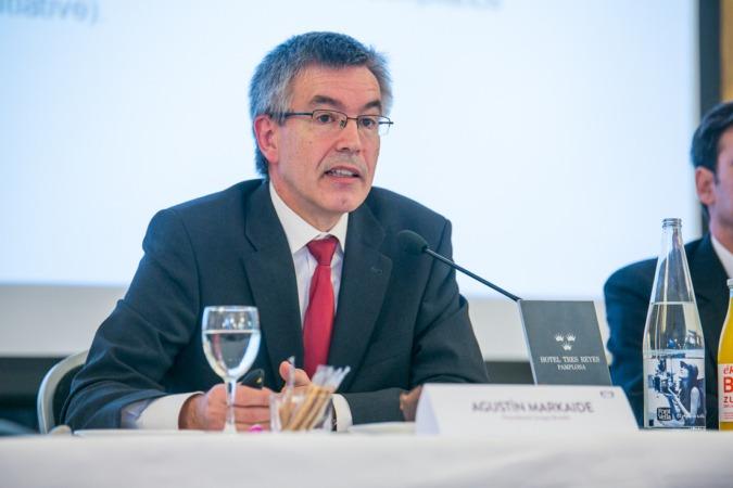 Agustín Markaide, presidente de Eroski, durante su intervención en un Desayuno Empresarial de NavarraCapital.es