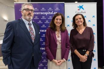 Tito Navarro, editor de Navarracapital.es; Inés Juste y Ana Díez Fontana