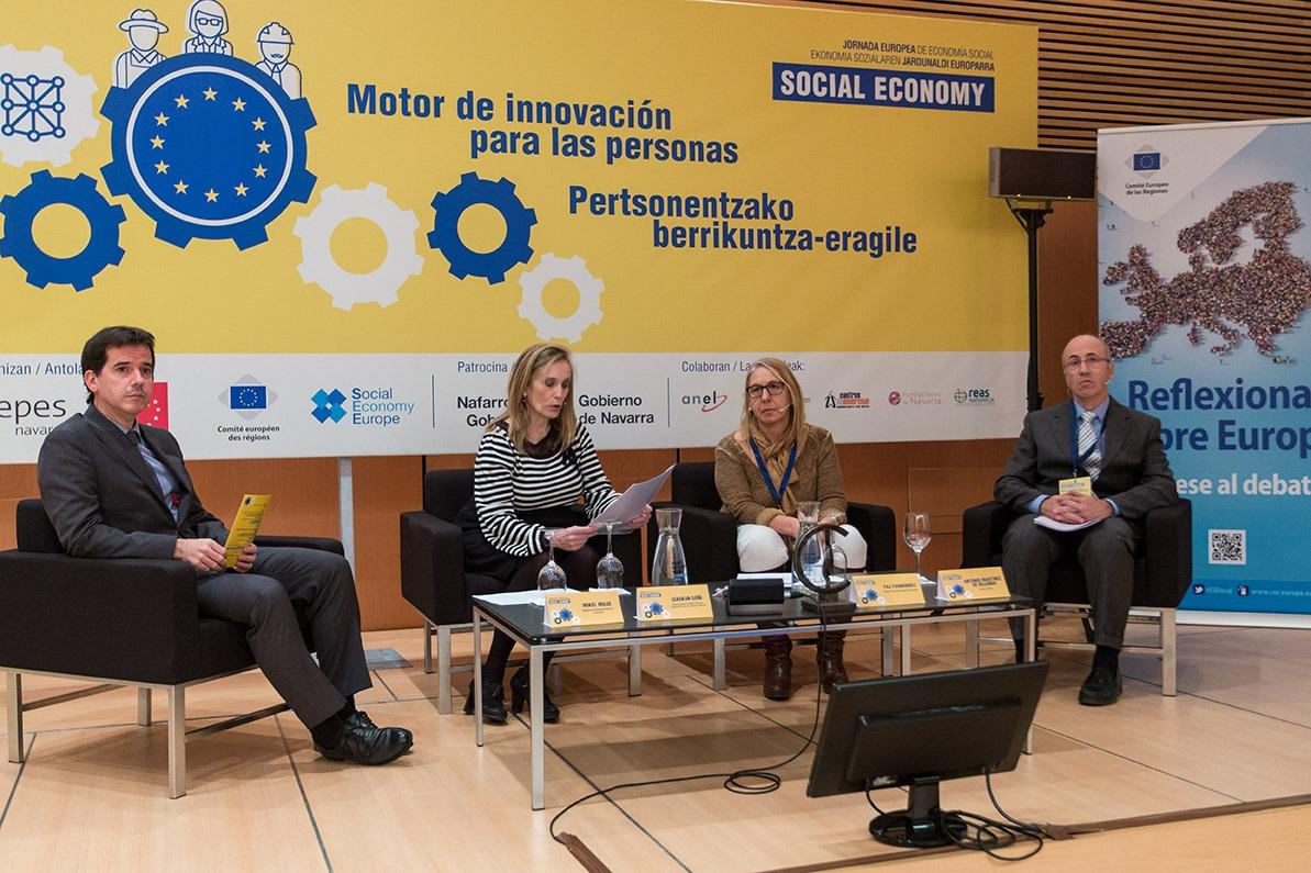 De I a D: Mikel Irujo (Delegado Navarra en Bruselas); Izaskun Goñi (Gobierno de Navarra); Paz Fernández (SNE) y Antonio Martínez de Bujanda (ANEL). (FOTOS: Víctor Rodrígo)