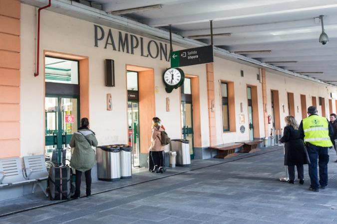 La estación de ferrocarril de Pamplona.