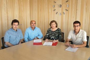 Patxi Vera, José Mari Martínez, la consejera Elizalde e Ignacio Gil en la firma del acuerdo.