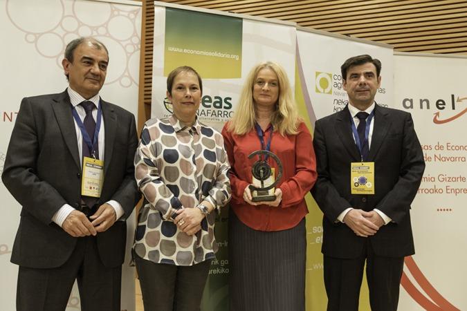 De I a D: Juan Antonio Pedreño (Social Economy Europe); Uxue Barkos; Ulla Engelmann (Comisión Europea) e Ignacio Ugalde (CEPES Navarra) (FOTOS: Víctor Rodrígo).
