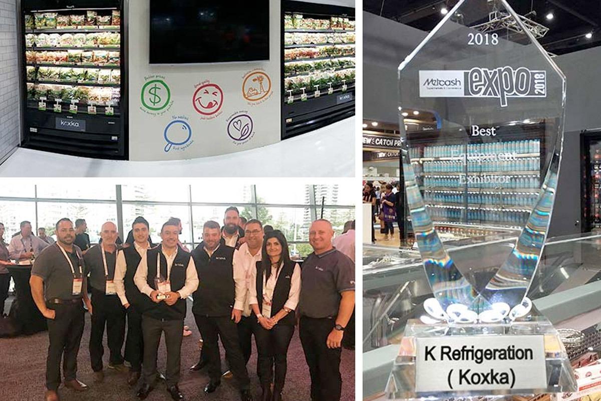 Collage formado por una imagen de los equipos de Koxka exhibidos en Metcash, otra de la delegación navarra presente en el foro y el premio recibido como 'Equipment Exhibitor'