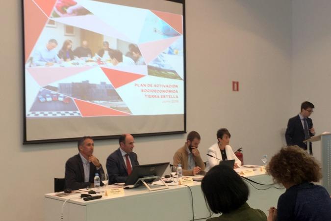 Guillermo Erice, Manu Ayerdi, Koldo Leoz y Mariví Sevilla en la mesa durante la presentación del Plan.