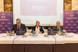 Mesa Presidencial de los Desayunos Empresariales con Tito Navarro (NavarraCapital.es), María José Álvarez (Grupo Eulen) y Francisco Esparza (ADEFAN). (Fotos: Víctor Rodrígo)