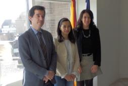 De I a D. Mikel Irujo, delegado de Navarra en Bruselas; Marina Martínez, responsable del programa H2020 de la oficina de CDTI en Bruselas y Virginia Walch, delegación de Navarra en la capital comunitaria.