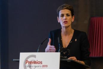 María Chivite, durante su intervención.