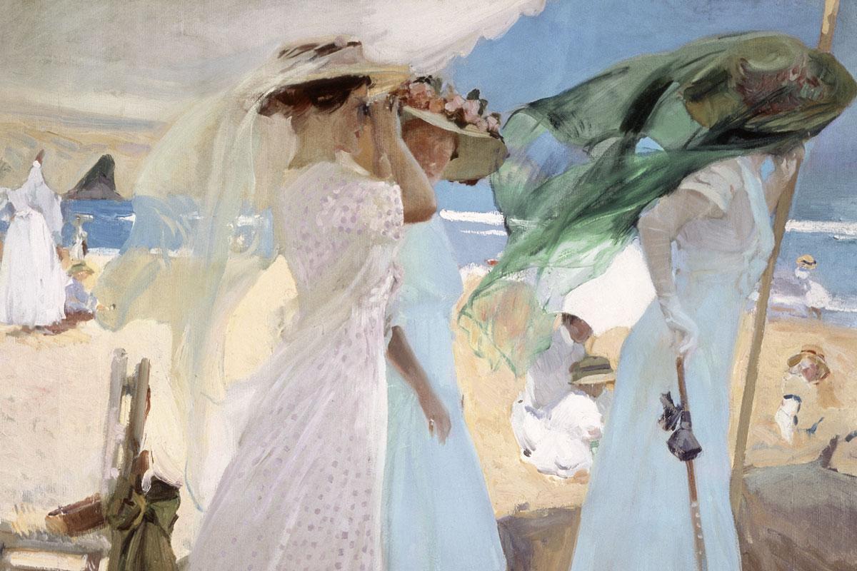 En 'Sorolla y la moda' el visitante puede pararse a disfutar de 'Bajo el toldo, Zarutz' (1910).