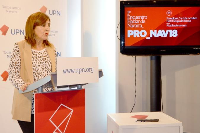 Yolanda Ibáñez, secretaria general de UPN, durante la rueda de prensa de presentación del programa 'PRO_NAV18'