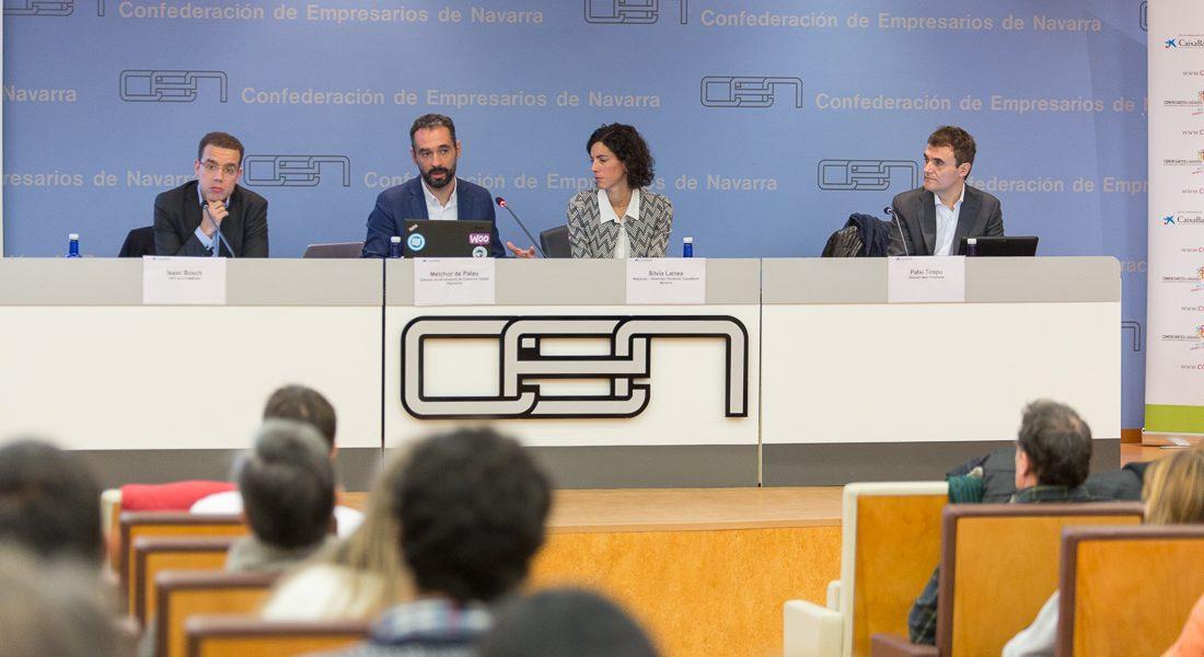 Momento de la presentación de 'Mi Comercio Online' en la sede de la CEN en Pamplona.
