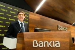 Imagen del presidente de Bankia, José Ignacio Goirigolzarri en la presentación de resultados de su entidad financiera.