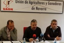 Imagen de los responsables de UAGN en una reciente rueda de prensa (archivo)