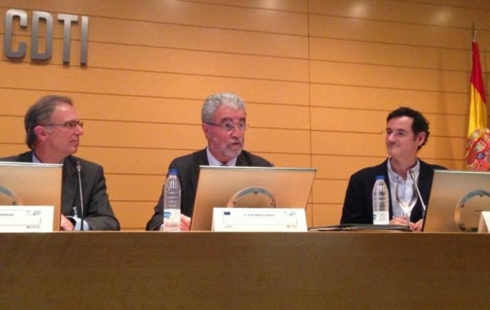 Momento de la presentación del estudio en la sede del CDTI en Madrid con José María Zabala en el centro de la imagen.