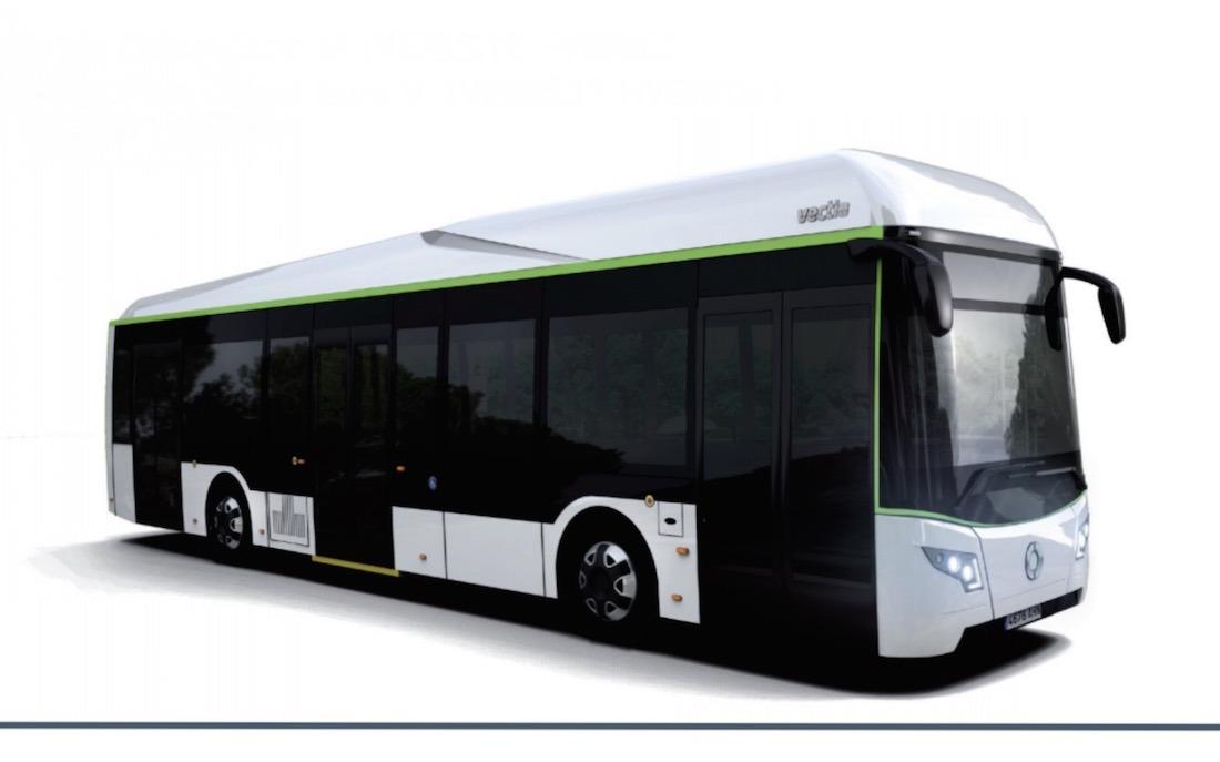 Imagen de un autobús eléctrico híbrido en los que trabaja Vectia.