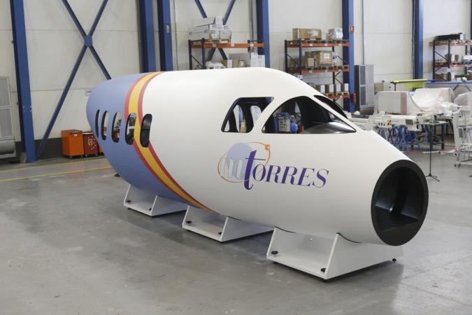 El prototipo del fuselaje del proyecto Torreswing, en una nave de la empresa MTorres.