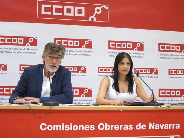Chechu Rodríguez y Nerea Contreras, secretario general y secretaria de Mujer de CCOO Navarra, respectivamente.