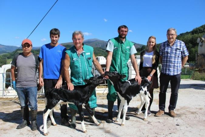Imagen de los dos terneros de Navarra fecundados In Vitro junto a los responsables del proyecto.
