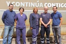 Equipo de Prevención y Medio Ambiente de Fagor Ederlan Tafalla, con Óscar País a la derecha.