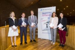 Laura Cruz, Jaume Giro, Luis Sanz, Paloma Miravitlles, Fariza Achcaoucaou del Observatorio Social 'la Caixa' que ha presentado el estudio sobre la I+D.