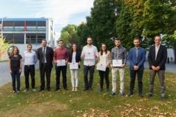 Imagen del ganador y los finalistas del II Premio Siemens Gamesa al trabajo fin de carrera de la UPNA.