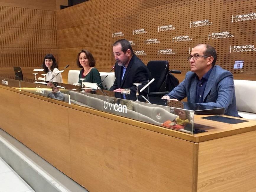Durante la presentación de las Ayudas a Proyectos 2018: Natalia Muñoz, Natalia González-Páramo, Javier Miranda y Javier Fernández.