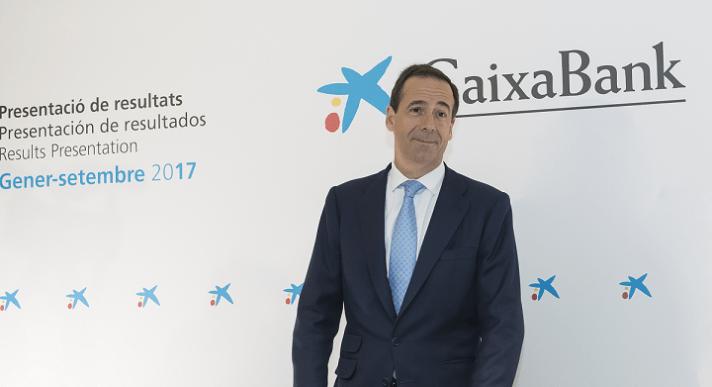 El director general de Caixabank, Gonzalo Gortázar, minutos antes de la presentación de resultados del tercer trimestre 2017 de la entidad financiera.