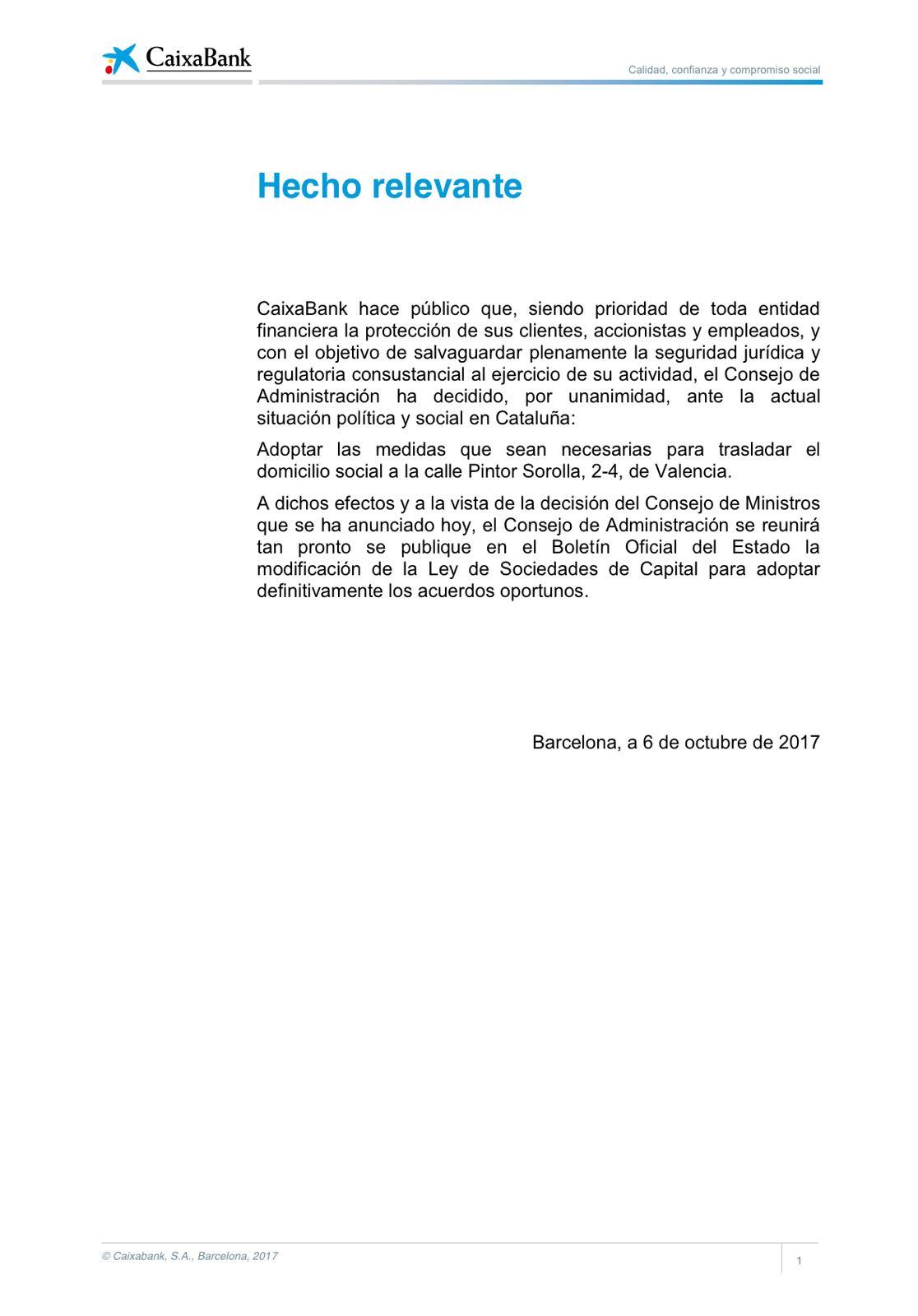 Comunicado de Caixabank en el que anuncia el cambio de su sede a Valencia.