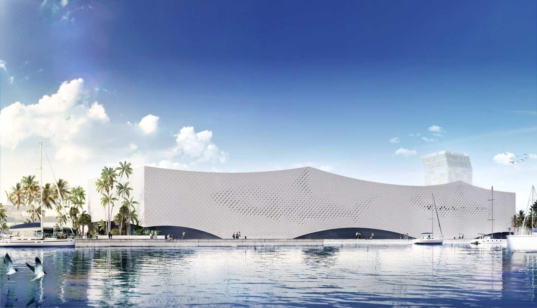Imagen exterior del acuario Poema del Mar, proyecto liderado por las empresas navarras OFS Architects, FS Estructuras y VDR